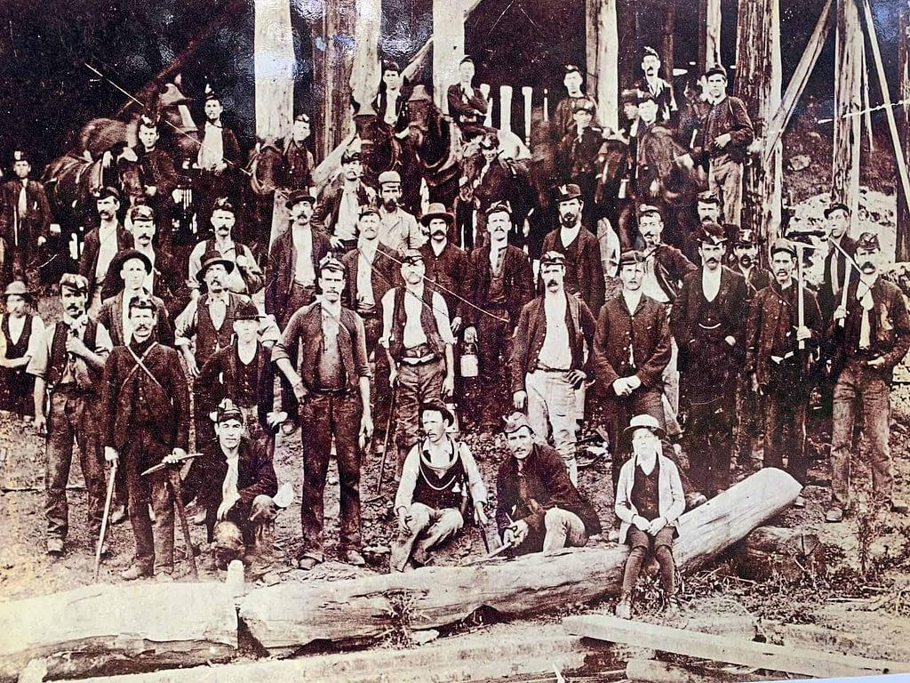 historic image of coal mine workers Korumburra