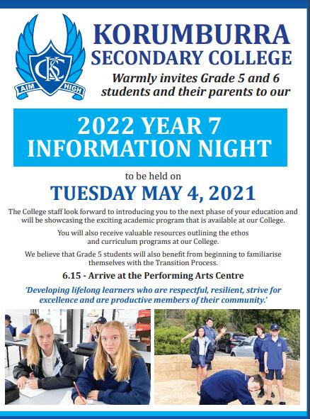 Korumburra Secondary College 2022 Info Night