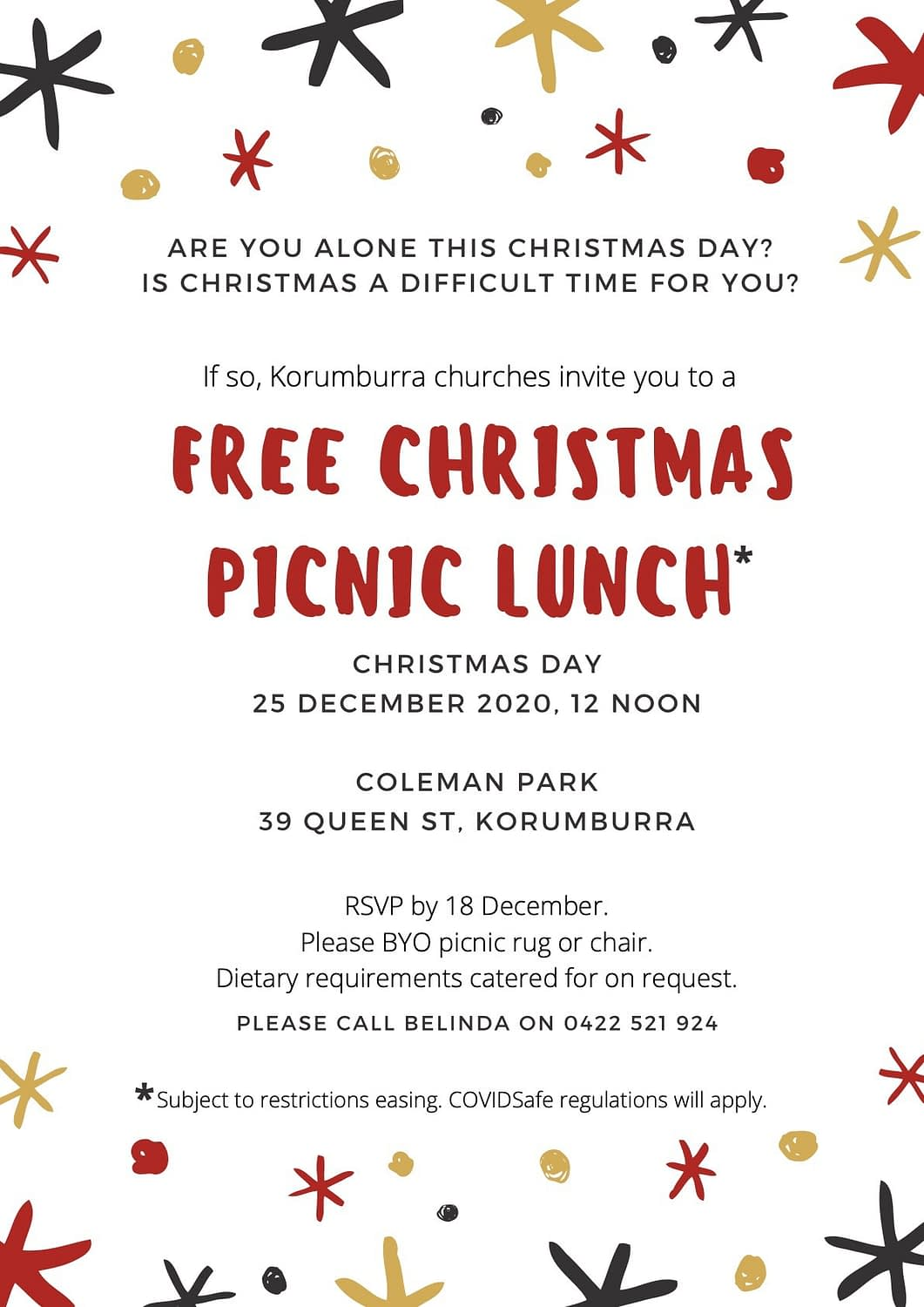 Korumburra Christmas Lunch Picnic flyer